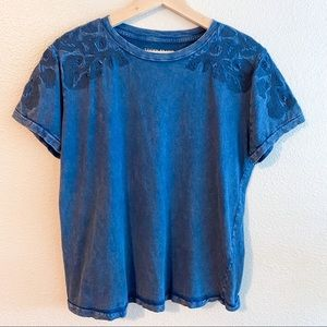 Lucky Brand Vintage Blue Embroidered Tee Shirt